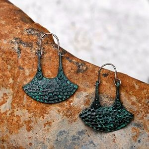 sewchicboutique Jewelry - Hammered Dangle Earrings In Patina